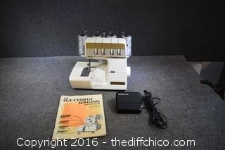 Working White Super Lock Sewing Machine Model #228 by Jaquar