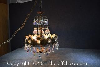Vintage Crystal Chandelier-1 crystal missing,3 lights work-bulbs not included