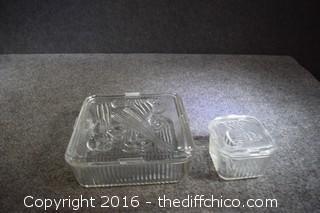 2 Glass Refrigerator Dishes