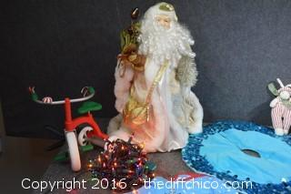 Mixed Christmas Lot-Santa, Tree Skirts, Lights, Ornaments & More