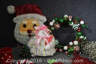 Mixed Lot of Christmas Decorations-Mickey Mouse Lights, Santa, Ornaments & More