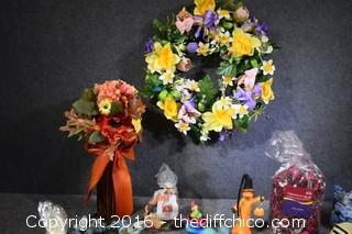 Wreath, Artifical Flowers & More