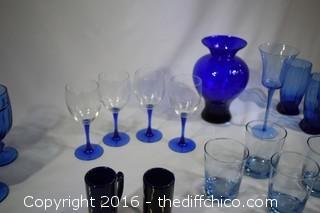 26 Pieces of Cobalt Blue Glassware & More