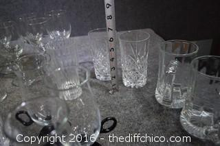 Over 40 Pieces of Clear Glass Drink Glasses