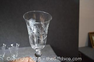 4 Etched Glass Stem Ware