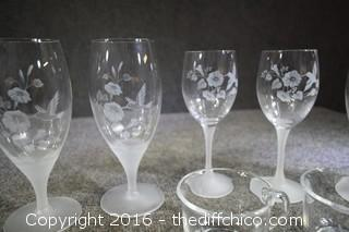 8 Etched Hummingbird Glasses