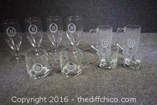 Lot of 10 Glasses w/B Character on front of Glasses