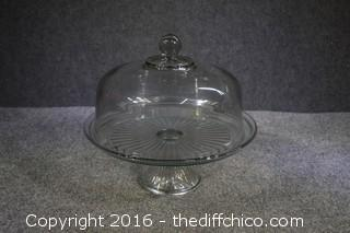 Glass Pedestal Cake Plate & Lid