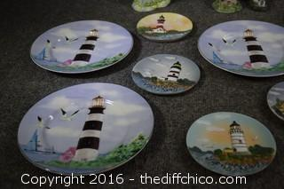 Light House Plates, Lamp, Candle Holder & More