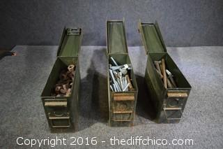 3 Ammo Boxes & Contents