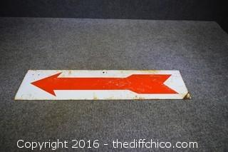 Red Arrow Metal Sign