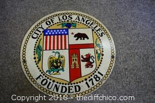 12in dia City of Los Angeles Metal Sign