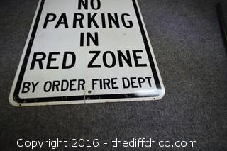 Metal No Parking in Red Zone Sign
