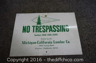 Metal No Trespassing Sign
