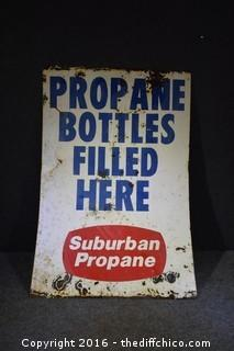 2 Sided Metal Propane Bottle Filled Here