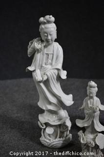 3 Oriental Porcelain Statues - 2 Small Chips