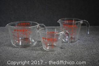 3 Pyrex Measuring Cups