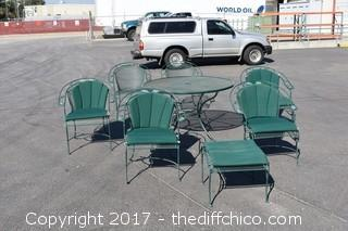 Patio Table, 6 Chairs & Ottoman