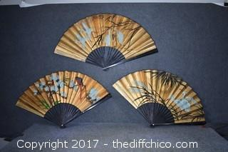 3 Oriental Wall Hanging Fans