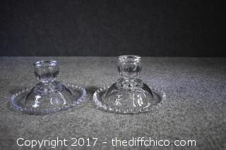 Pair of Candlewick Candle Holders