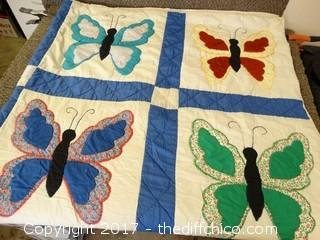 """Butterfly Quilt 6ft Wide 92"""" Long"""