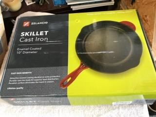 "Zelancio 10"" Cast Iron Skillet - Red"