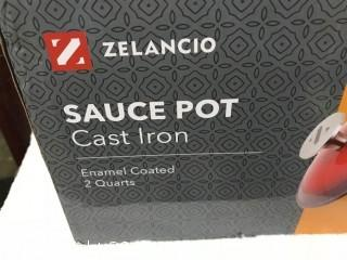 Zelancio Cast Iron 2 Quart Sauce Pot - Red