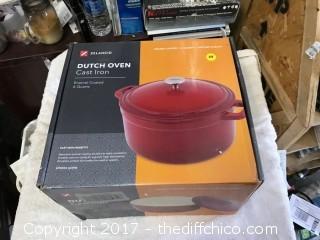 Zelancio Cast Iron 6 Quart Dutch Oven - Teal