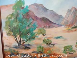 "Original Oil On Canvas Desert Picture W-31"" T-25"""