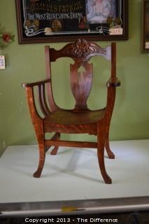 Vintage Tiger Oak Throne Chair