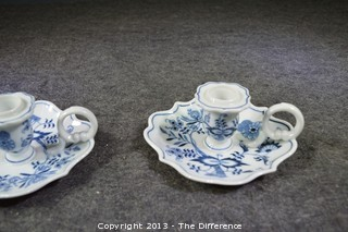 Blue Danube Onion Design Candle Holders