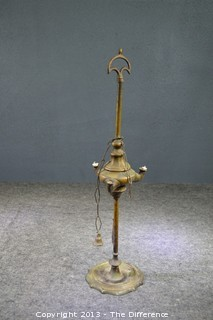 Vintage Working 17 1/2in Tall Brass Primitive 1800's Lamp