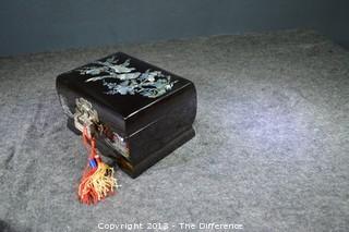 Mother of Pearl Inlaid Jewelry Box w/Key