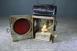 Vintage English Railroad Lantern in Perfect Condition
