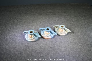 3 Roseville Magnolia Pottery Candle Holders 1156-2 1/2