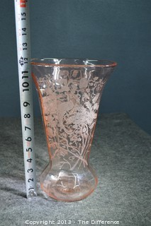 Pink Etched Depression Glass Vase