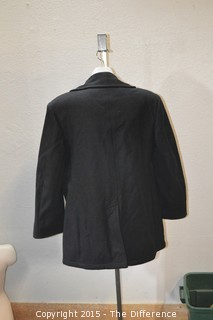 Vintage US Navy Mens Blue Navy Wool Enlisted Pea Coat Jacket Size 46R