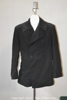 Vintage US Navy Mens Blue Navy Wool Enlisted Pea Coat Jacket Size 38R