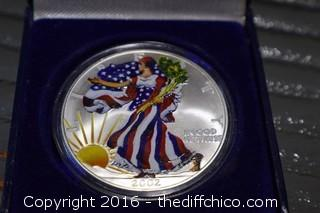 2002 Painted 1 oz Fine Silver Walking Liberty