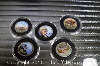 5 Painted Collectible Nickels