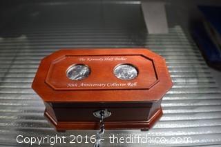 Kennedy Half Dollar 50th Anniversary Collectors Roll in Box w/Key