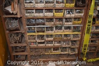 Wood Shelf Full of Bins-Wood Shelf not included