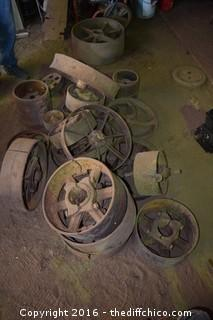 Lot of Vintage Cast Iron Wheels
