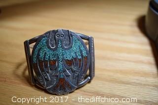 Turquoise & Coral Silver Peyote Bird Bracelet
