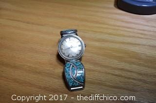 Working Timex Watch w/Turquoise & Silver Band