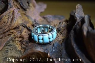 Turquoise & Silver Ring - Size 7 1/2