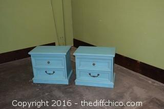 Pair of Turquoise Night Stand / End Table