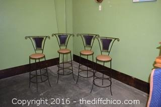4 Wrought Iron Stools