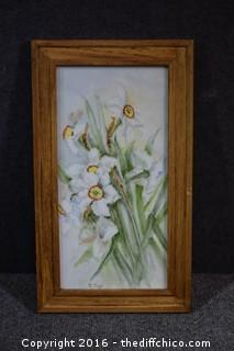 Signed Hand Painted Framed Porcelain