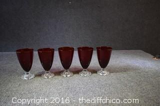Set of 5 Ruby Red Candlewick Glasses